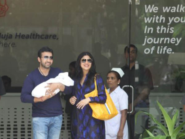 Shilpa and Raj Kundra with their baby boy
