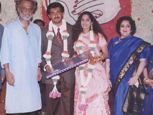 Rajini And His Wife At Ajith's Marriage
