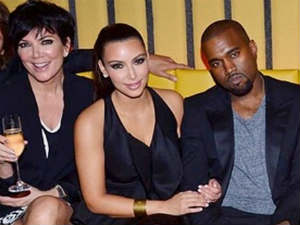 Kris Jenner, Kim Kardashian and Kanye West