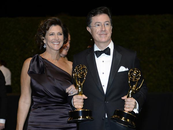 Actor Stephen Colbert With Wife Evelyn Colbert