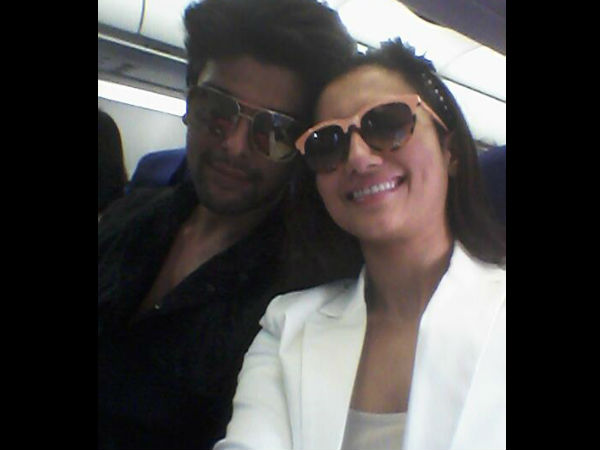 Gauhar And Kushal In Airplane