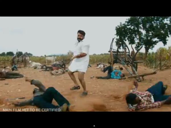 Mohanlal Bashing Thugs In Jilla Teaser