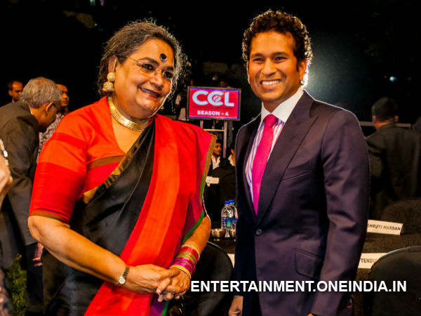 Sachin With USha Uthup At CCL 2014 Launch