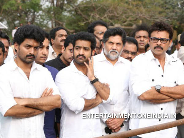 Jr NTR, Venky At ANR Funeral