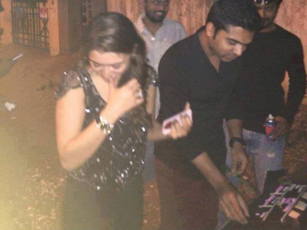 Photo: Simbu Cuts Birthday Cake With Hansika Motwani