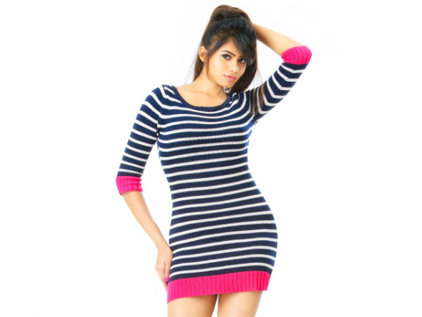 Deepa Sannidhi In Stripped Sweater Dress