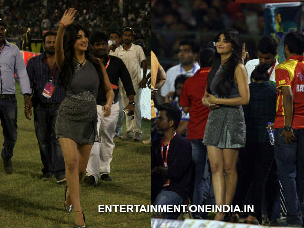 Shruti Hassan At Telugu Warriors Match In CCL 4