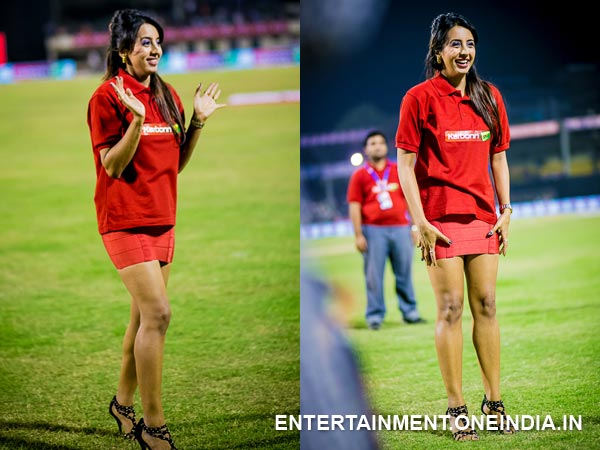 Sanjjanaa At Telugu Warriors Match In CCL 4