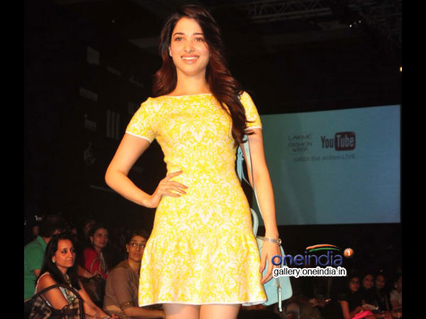 Tamanna Walks Ramp In One Piece Dress At Lakme Fashion Week 2014
