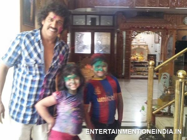 Upendra Playing Holi With His Kids