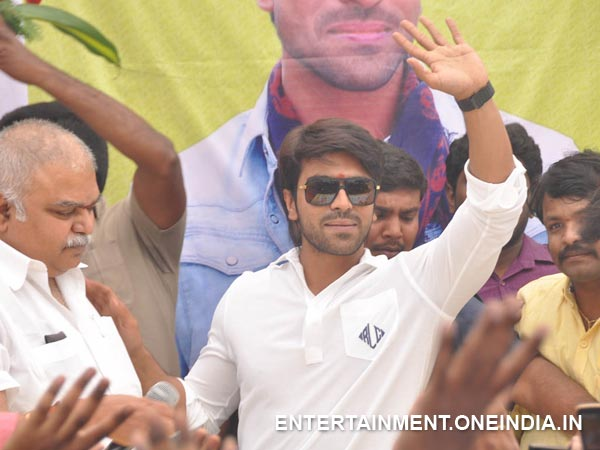 Ram Charan Waving Hand At Fans In His 29th Birthday