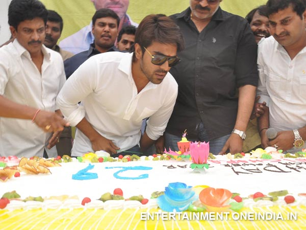 Ram Charan Blowing Off Candle At His 29th Birthday
