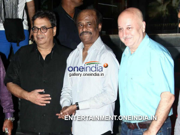 Picture: Subhash Ghai, Rajinikanth, Anupam Kher At Kochadaiiyaan Hindi Version Launch