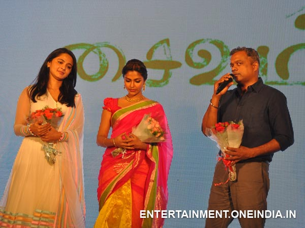 Anushka, Amala With Gautham Menon At Saivam Music Release