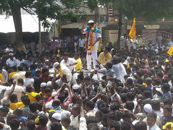 Balakrishna Fans Crowd During His Nomination In Hindupur