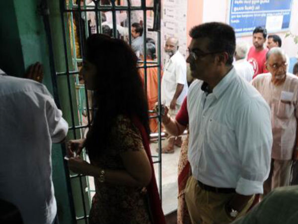 Photo: Ajith With His Wife Shalini Enter Polling Booth