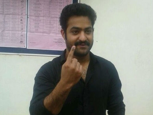 Junior NTR Shows Index Finger After Voting