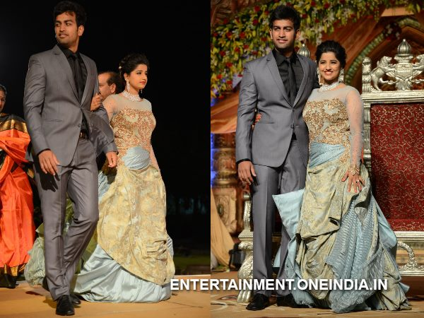 Hanshitha, Archith Reddy's Dashing Costumes At Wedding Reception