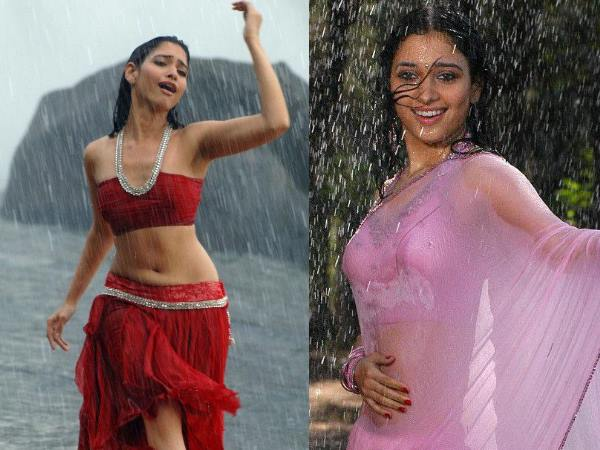 Wet Tamanna Bhatia's Hot Expression In Rain Song