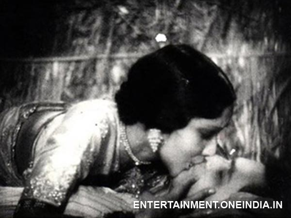 First on screen kiss: Devika Rani kissing Himanshu Rai in a still from Karma