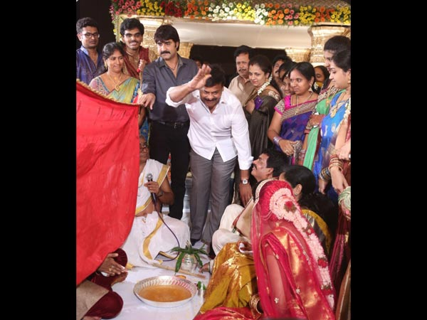Chiranjeevi At Sivaji Raja's Daughter's Wedding