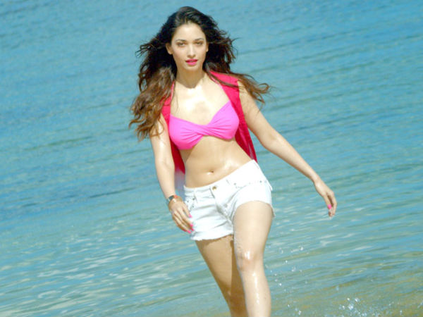 Photo: Tamanna's Hot Look In Twisted Bikini Top With White Shorts