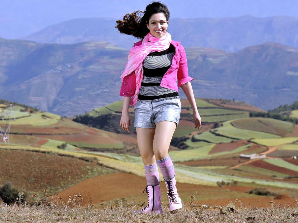 Photo: Tamanna In Pink And Black Top With Blue Shorts