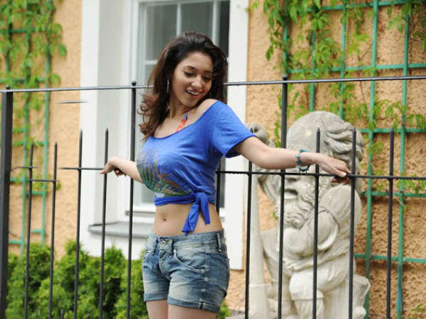 Photo: Tamanna Dons Knotted Blue T-Shirt With Denim Shorts