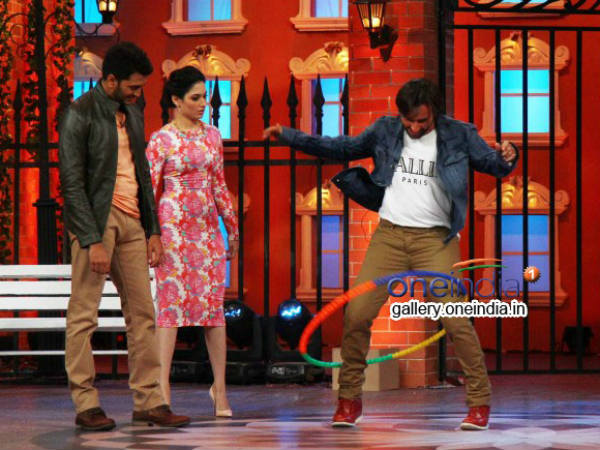 Saif Try His Hand In Hoola Hoop During Humshakals Promotion