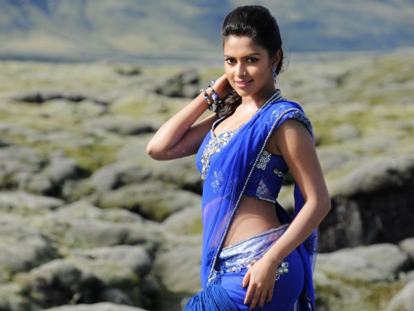Amala Paul's Gorgeous Look In Blue Embroidered Saree