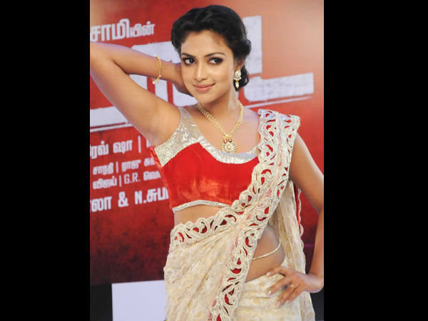 Amala Paul In Cream And Red Laced Saree