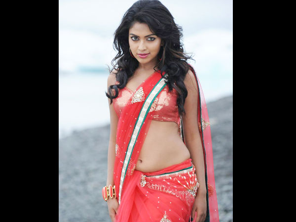 Amala Paul In Orange Embroidred Saree