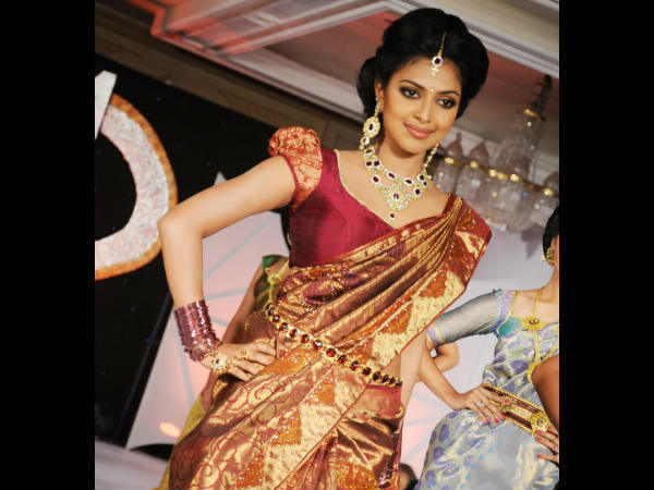 Amala Paul Dons Kanchipuram Saree