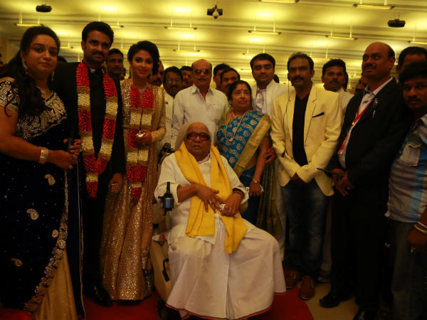 Karunanidhi At Amala Paul-Vijay's Wedding Reception