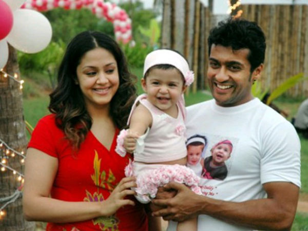 Surya-Jyothika With Their Daughter