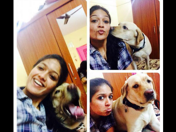 Meghana Raj With Her Pet