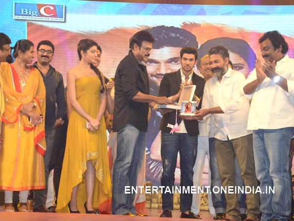 Venkatesh Hands Over First Alludu Seenu Audio CD To Rajamouli