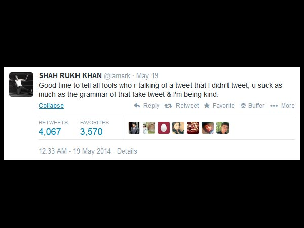 SRK Gives It Right Back!
