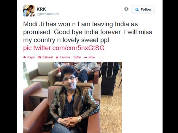 Kamaal R Khan Left India?