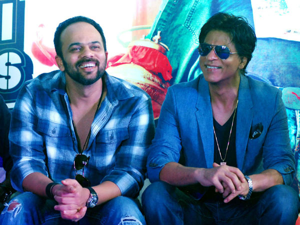 SRK, Rohit Shetty share a light moment.
