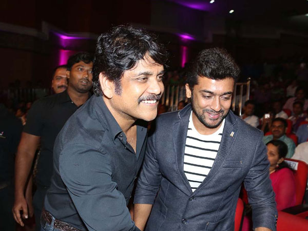 Nagarjuna Receives Surya At Sikander Music Launch