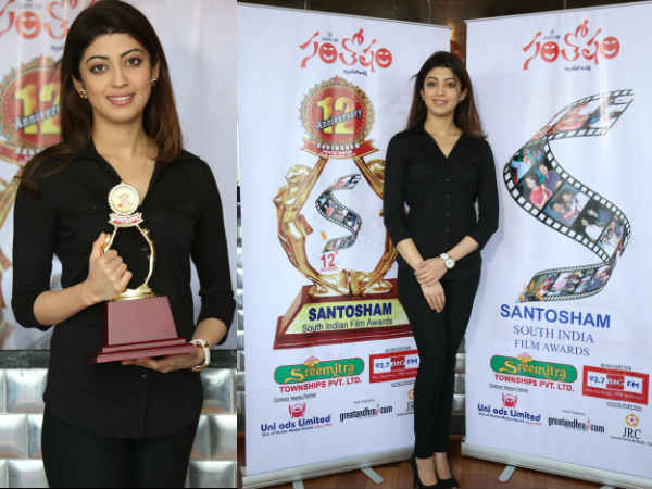 Pranitha Launches Santosham Awards Logo