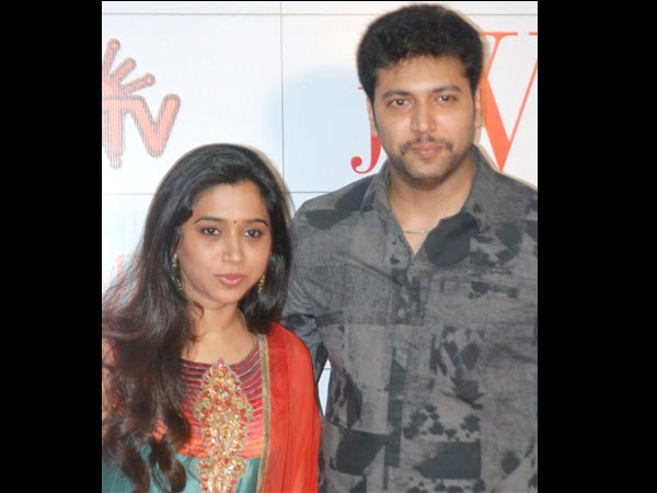 Jayam Ravi With His Wife At JF Women Achievers Awards