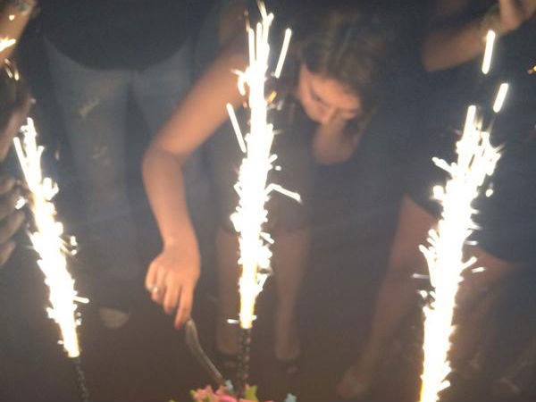 Hansika Cutting Cake With Power Team