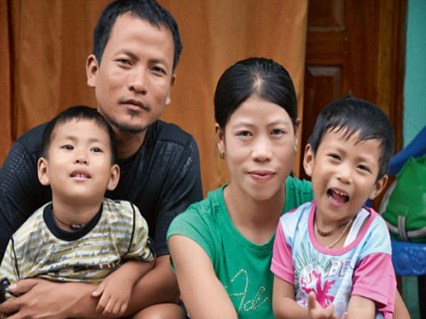 Mary Kom wither husband and children
