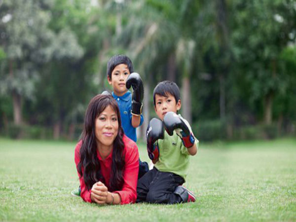 Mary Kom With Her Sons