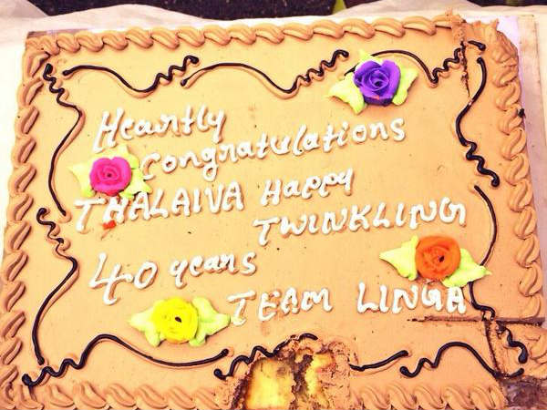 Rajinikanth Cuts Cake On Lingaa Sets To Mark His 40th Year In Films