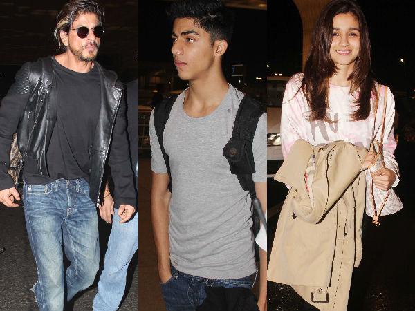 Snapped: Shahrukh Khan With Son Aryan And Alia Bhatt At Airport