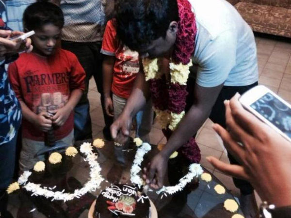 Yuvan Cutting The Birthday Cake
