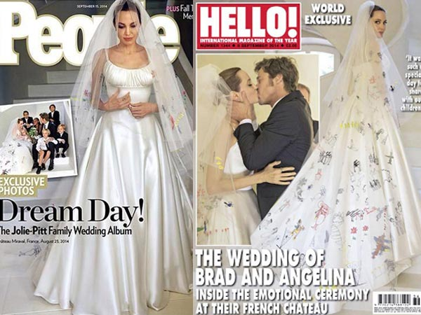 Angelina Jolie, Brad Pitt Wedding Pics Out On People And Hello